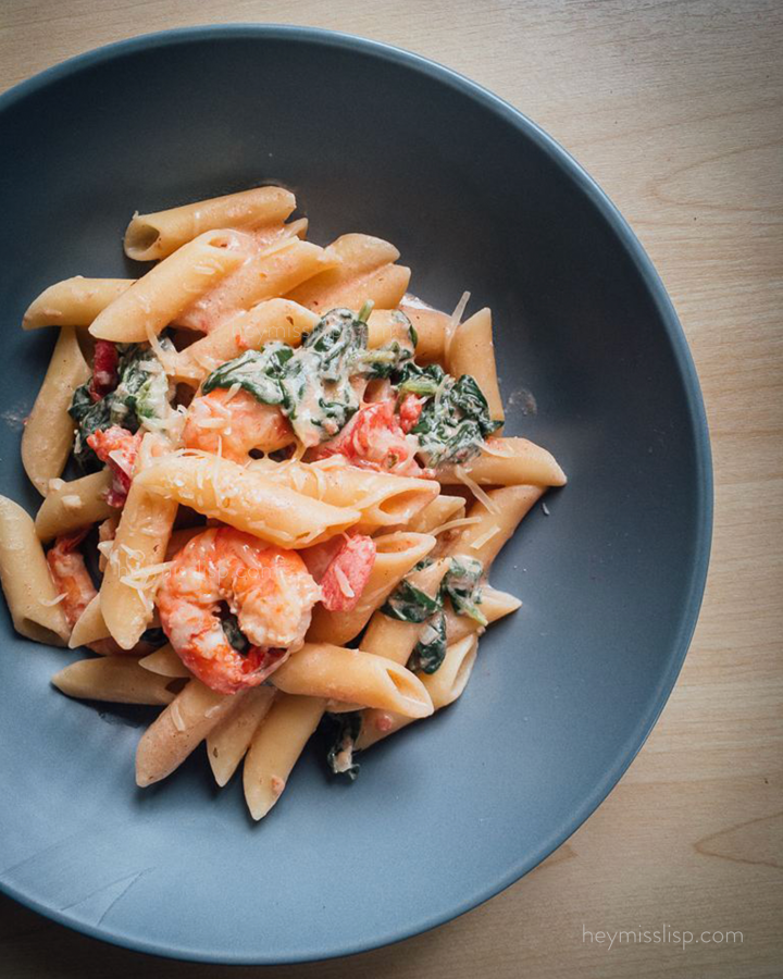 Creamy Tuscan Shrimp Penne with Spinach Recipe